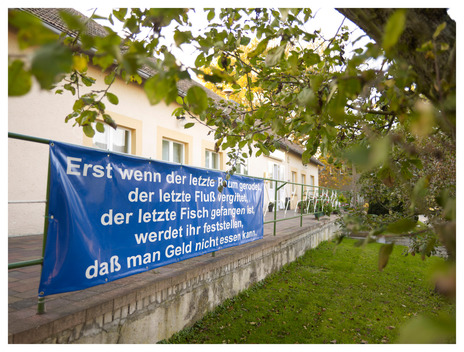 Protest Sign against Vattenfall Mine in Germany