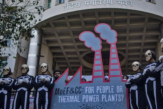 Action at the Ministry of Environment and Forests in New Delhi