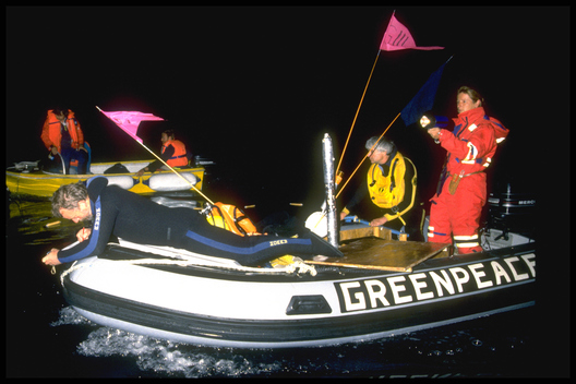 Greenpeace inflatable during Pacific campaign.