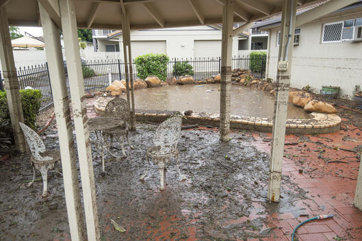 Flood Damaged Pool in Backyard, Townsville