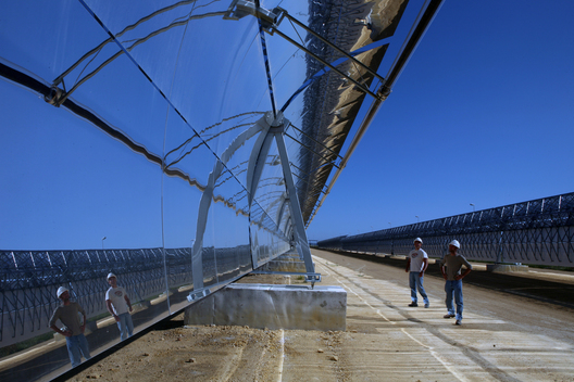 Workers at Concentrating Solar Tower Plant