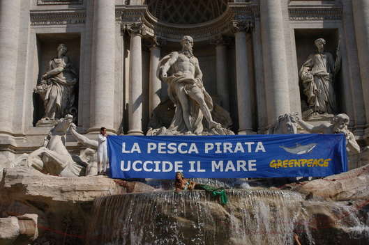 Action against Driftnets at Trevi Fountain in Rome