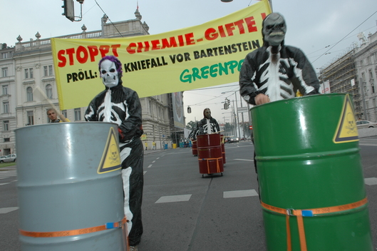 Toxics Action Delivering Barrels to Ministry in Austria
