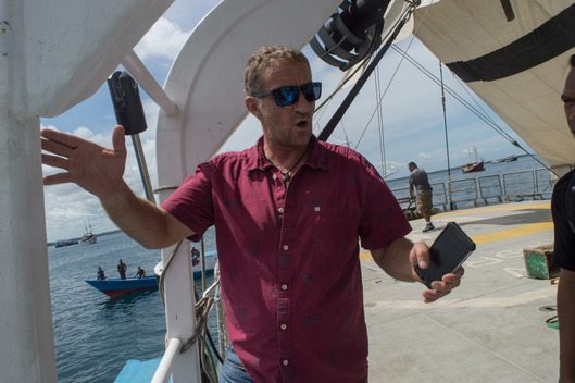 Rob Taylor onboard Rainbow Warrior at Manokwari Port, West Papua