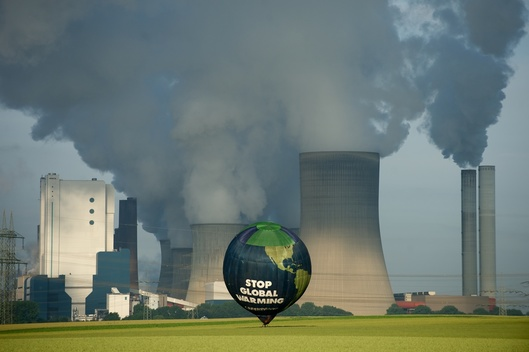 Climate Balloon over Coal Plant in Germany