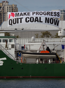 Quit Coal Banner on the Rainbow Warrior