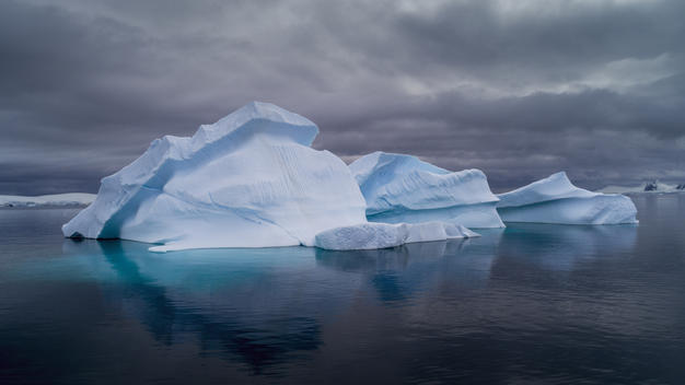 Icebergs in Charlotte Bay in the Antarctic