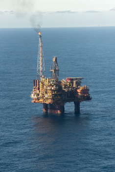 Flight Over Brent Oil Field in North Sea