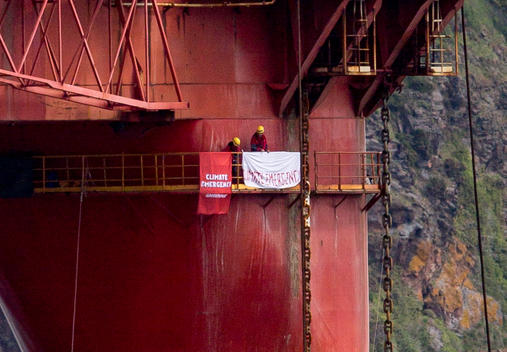 Climbers on BP Oil Rig in Scotland