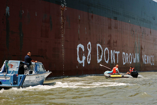 Climate Action in Venice during G8 Summit in Italy