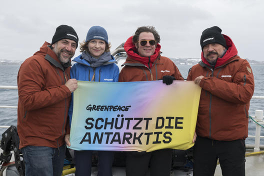 Guests onboard the Arctic Sunrise in Antarctica