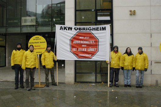 Action against Nuclear Plant Obrigheim in Berlin