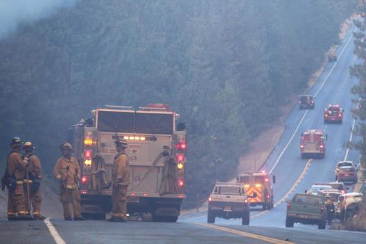 Fire Service on a Highway near Yosemite National Park