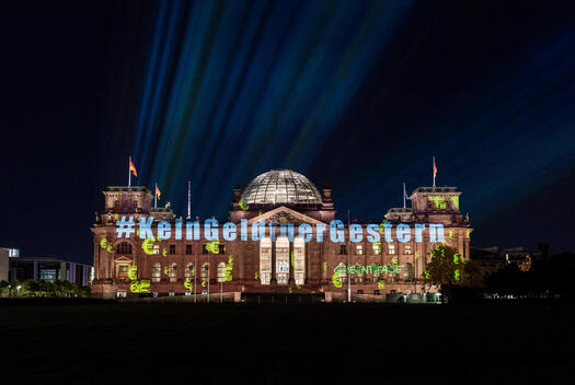No Money for Yesterday Projection at Reichstag in Berlin