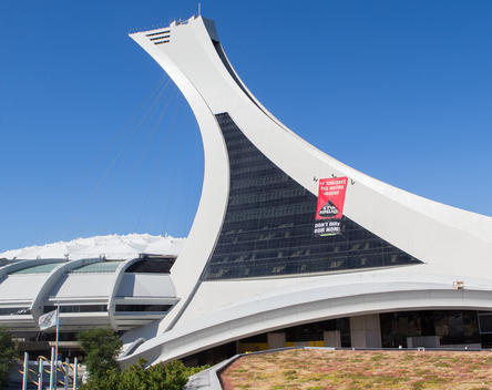 Activists Climb Olympic Park Tower in Montreal
