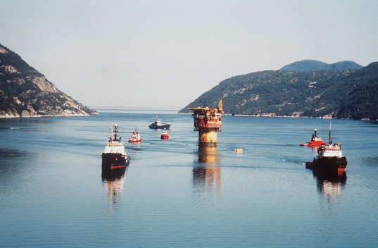 Brent Spar Towed in Erfjord