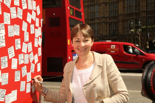 Caroline Lucas with Rebranded Brexit Bus UK