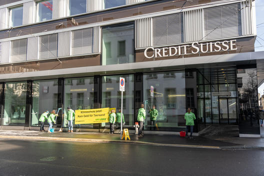 Cleaning Action at Credit Suisse in Winterthur