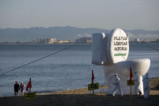 Oceans Inflatable Toilet Protest in Mexico