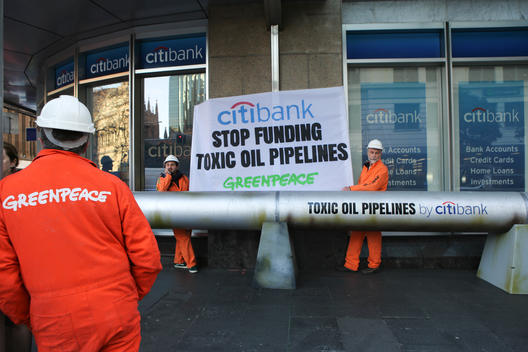 Activists Install Pipeline at Citibank in Sydney