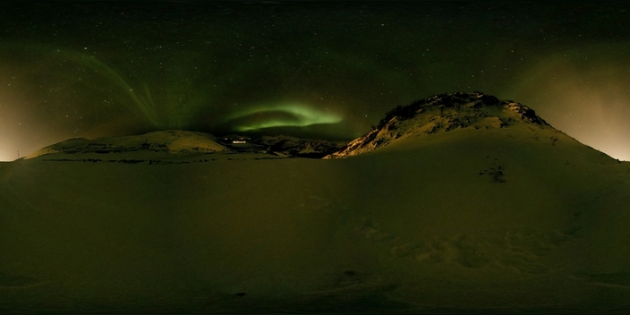 Northern Lights near Tromsø, Norway (360 degree panorama)