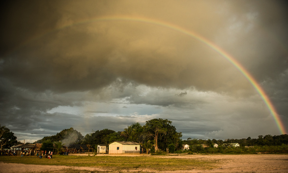 Rainbow over Waro Apompu Village