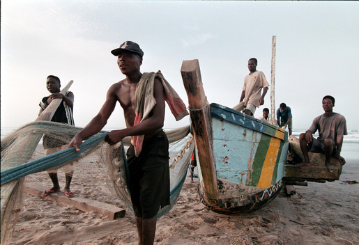 Workers in Traditional Fishing Village, A Hobre, Ghana