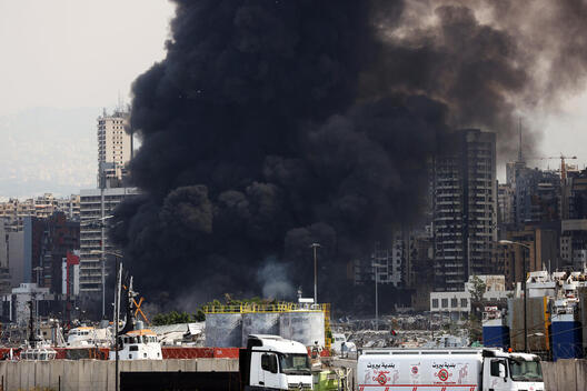 Huge Fire Breakout a Month after Massive Explosion at Beirut Port