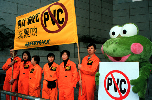 Greenpeace action at Hong Kong Toys and Games Fair '99, against use of PVC in toys. China