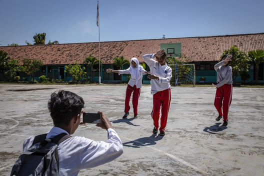 Local High School Students Perform a Dance in Cirebon