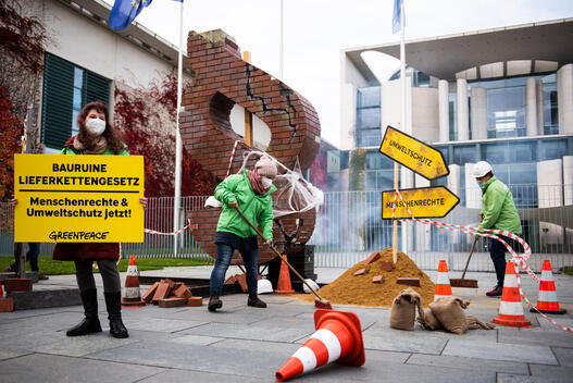Building Site Supply Chain Act in front of Federal Chancellery in Berlin