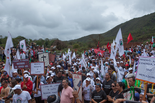 Brazilian Movement of Dam-Affected People (MAB) Arrives in Mariana for a Protest