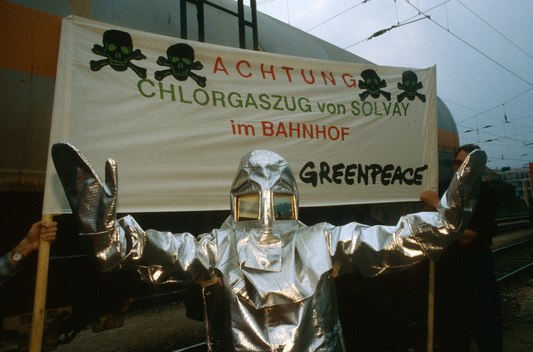 Protest against Toxic Transport at the Main Railway Station of Salzburg, Austria