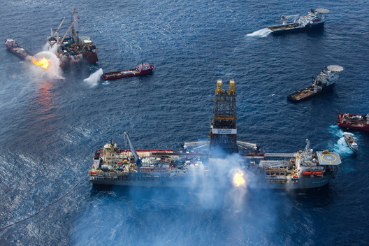 Burning Oil from Oil Rig Disaster in the Gulf of Mexico