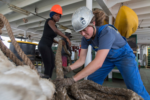 Deckhand Marie Elise Bettens on Greenpeace Esperanza Ship Tour