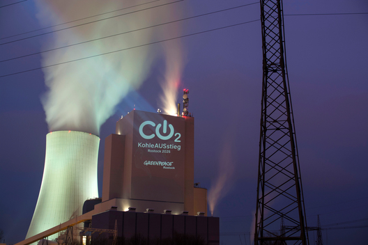 Projection Action at Rostock Coal Power Station