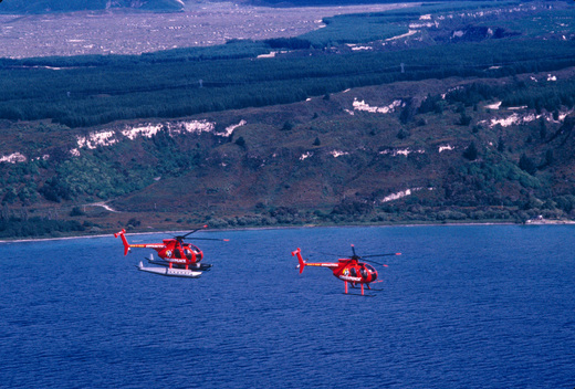 Helicopters over Lake Taupo