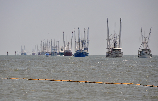 Shrimp Boats return to Port from Oil Skimming duty