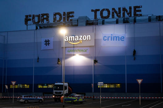 Protest at Amazon Logistics Center Winsen near Hamburg
