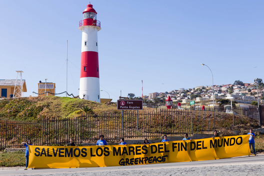 Lighthouse Action in Valparaiso for the Protection of Patagonian Sea