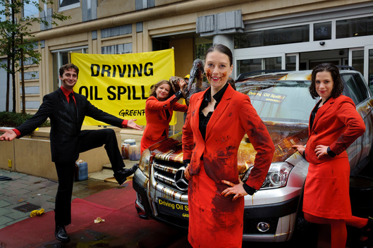 Luxury Cars Covered with Oil in Brussels