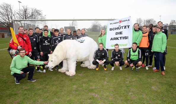 Greenpeace Paula Bear visits FC St. Pauli in Hamburg