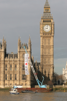 Trident Missile Protest at Big Ben in London