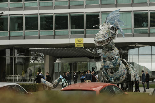 Plastic Monster Action at Nestlé Headquarters in Switzerland