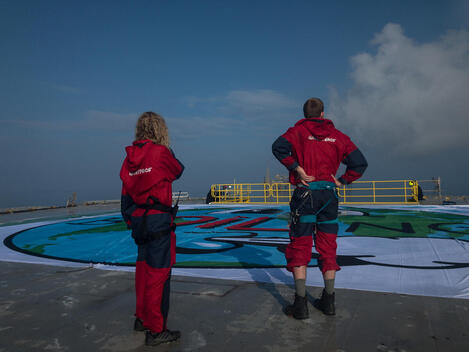 Project North Sea: Activists Reveal Art Piece Banner on Oil Rig in Denmark