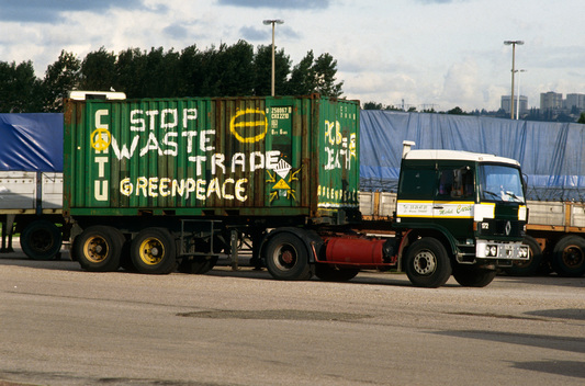 Greenpeace protest against containers of PCBs unloaded from the Maria Laura, Le Havre, France.