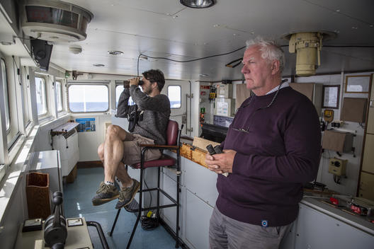 Crew on MY Esperanza in North Atlantic