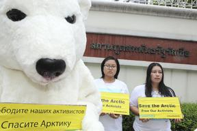 'Free the Arctic 30' Protest at Embassy in Thailand