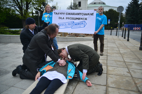 Prosumer Resuscitation Street Theatre Action at Polish Parliament