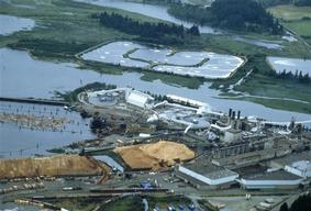Macmillan Bloedel pulp and paper mill near Vancouver, British Columbia, Canada.